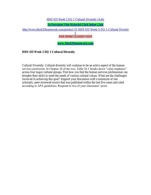 HHS 435 Week 5 DQ 1 Cultural Diversity (Ash)