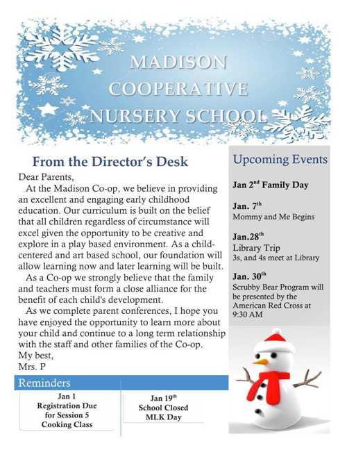 Madison Co-op January Newsletter