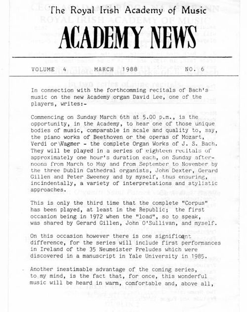 Academy News March 1988