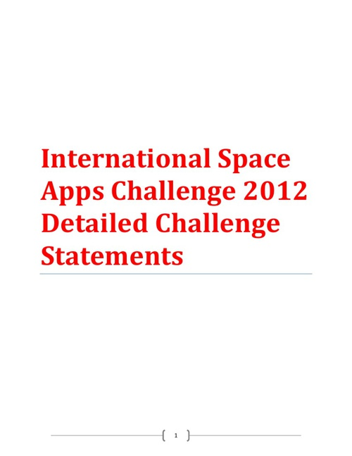 International Space Apps Challenge Detailed Challenge Statements