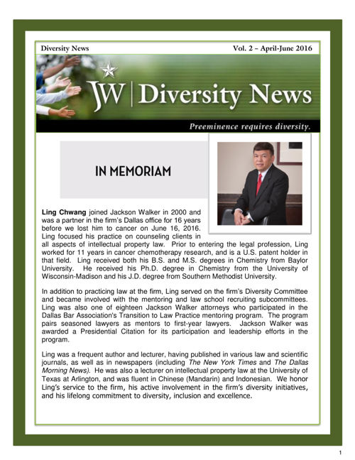 JW Diversity Newsletter - Vol. 2 - April-June 2016