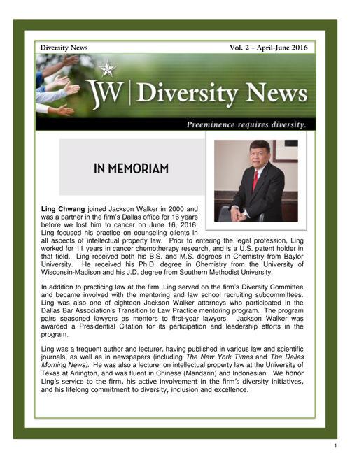 JW Diversity Newsletter - Vol. 2 - April-June 2016