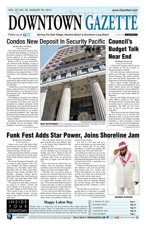 Downtown Gazette     August 29, 2014
