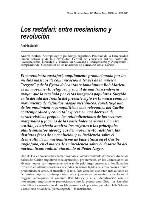Los rastafari: entre mesianismo y revolucion