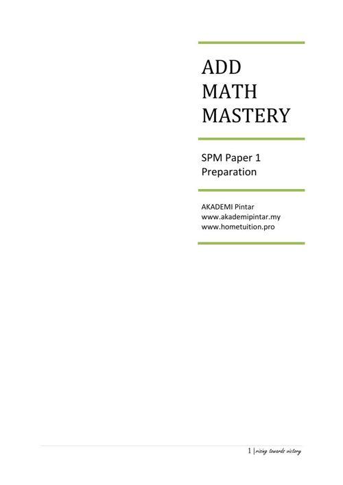 Add Math Form 4 Mastery
