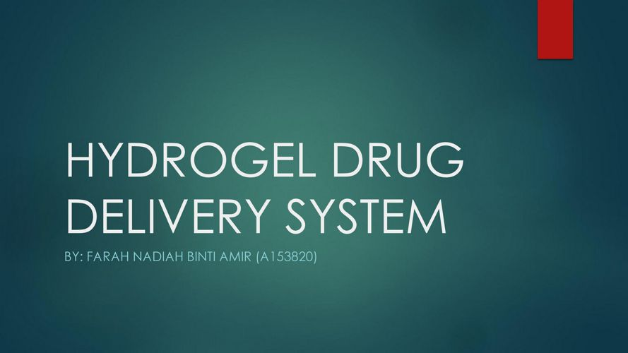PDD1 - Gel drug delivery systems