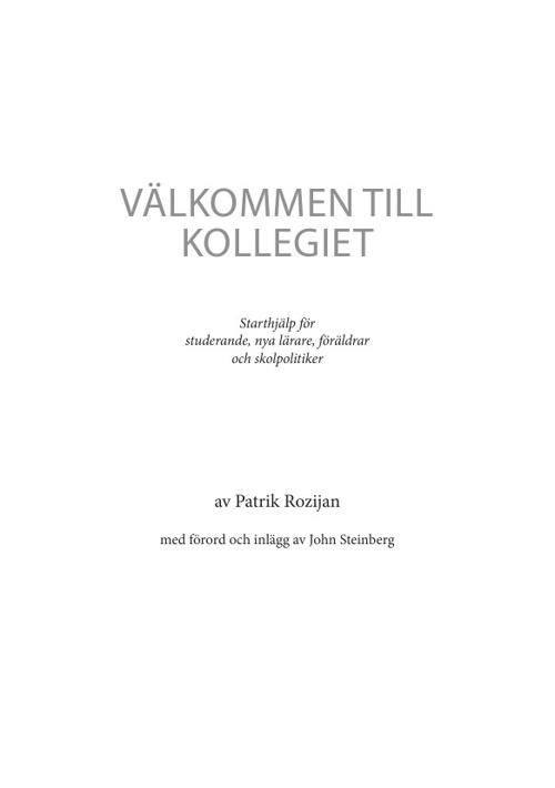 Pdf bok: Välkommen till kollegiet. Av Patrik Rozijan