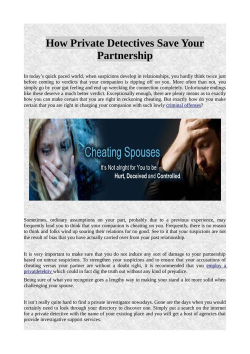 How Private Detectives Save Your Partnership