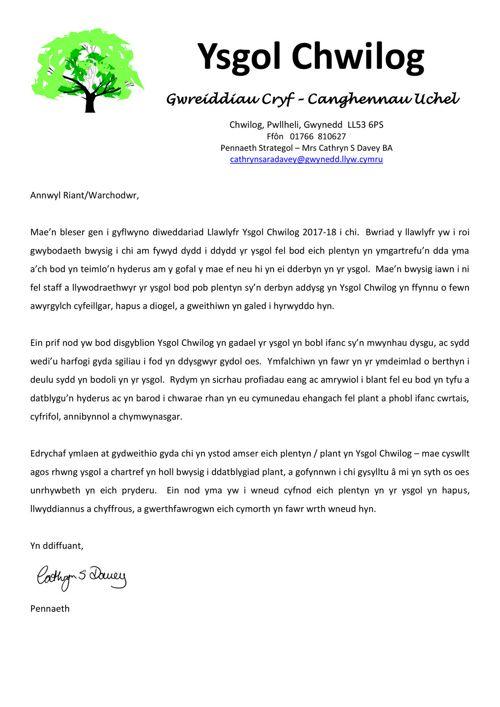 Llawlyfr 2017-18 Ysgol Chwilog