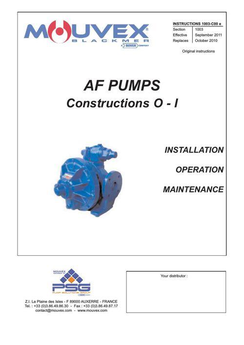 Mouvex AF Installation Operation Maintenance