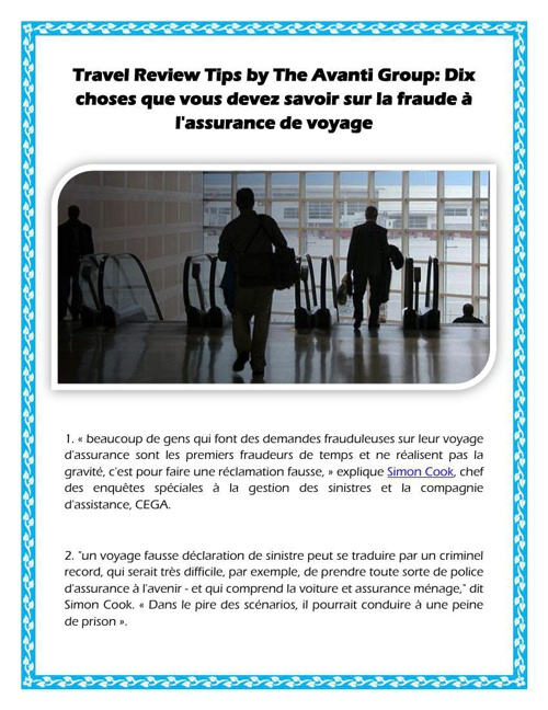 Travel Review Tips by The Avanti Group: Dix choses que vous deve