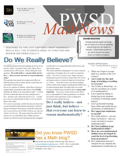 PWSD Math News March 2013
