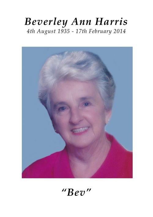 4 Order of Service for Beverley Ann Harris