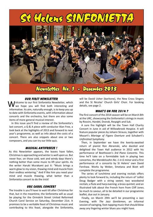 Sinfonietta Newsletter 1