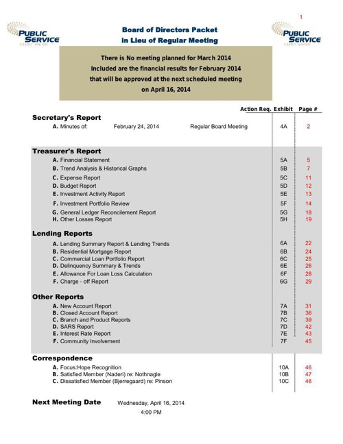 March 2014 Board of Directors Packet