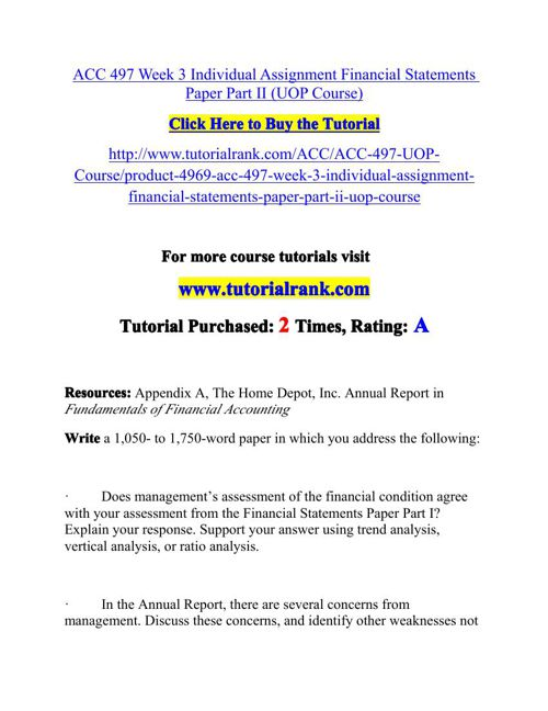 ACC 497 Week 3 Individual Assignment Financial Statements Paper