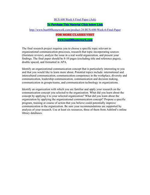 BUS 600 Week 6 Final Paper (Ash)