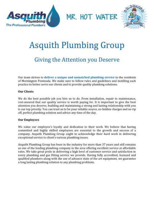 Asquith Plumbing Group - Giving the Attention you Deserve