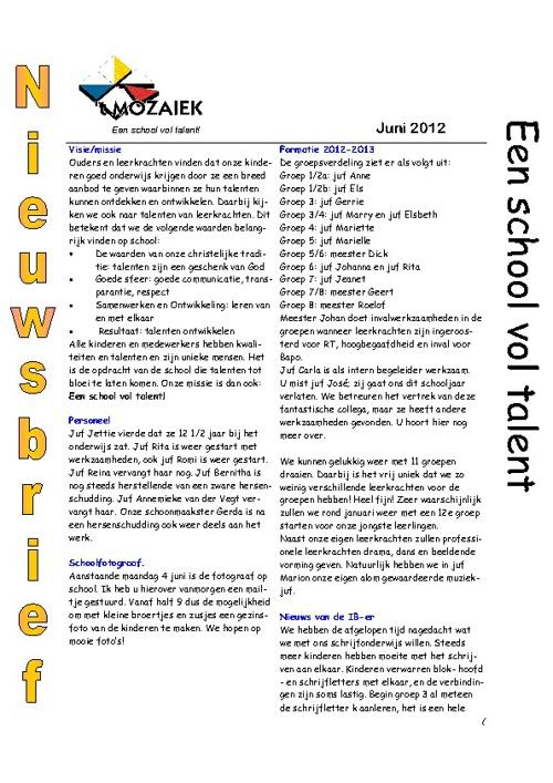 nieuwsbrief juni 2012
