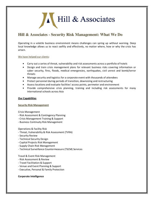 Hill and Associates - Security Risk Management - What We Do
