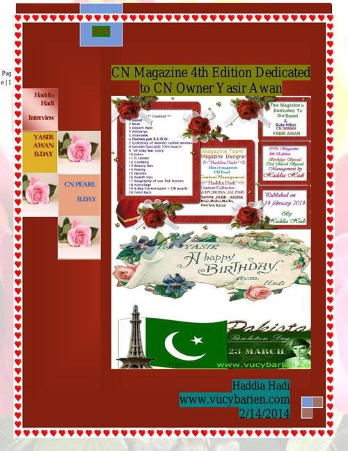 1CN Magazine 4th edition dedicated to Yasir Awan FROM HADDIA HAD