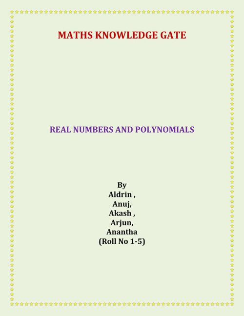 Real Numbers And Polynomials