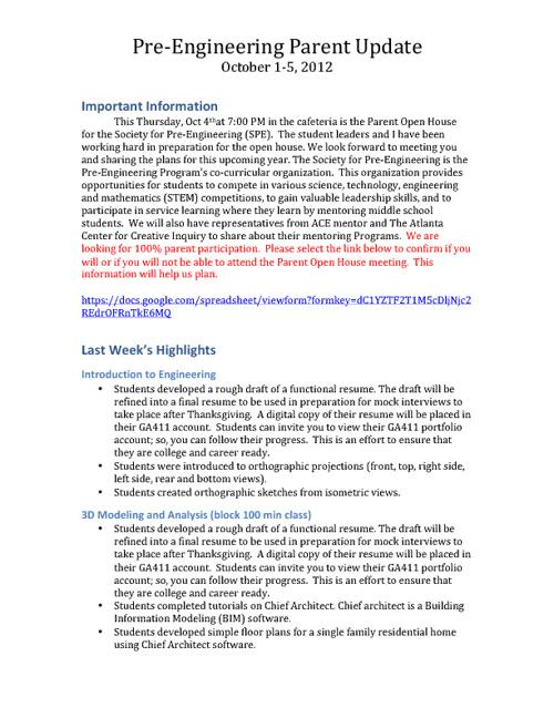 Pre-Engineering Parent Update 2012-2013