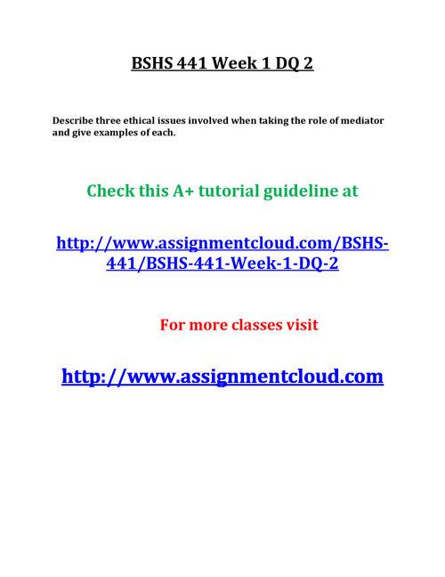 BSHS 441 Week 1 DQ 2