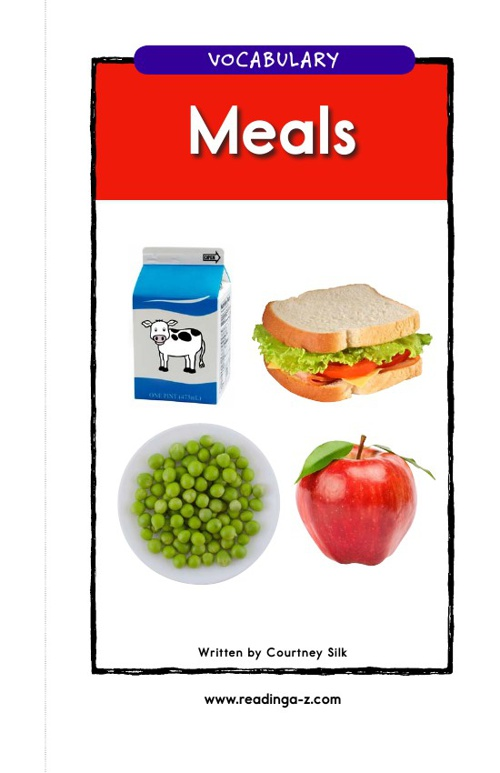 Meals Vocabulary Book and Support Materials