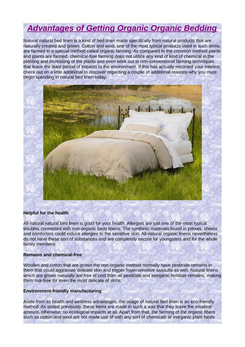Advantages of Getting Organic Bedding
