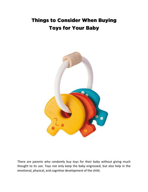 Things to Consider When Buying Toys for Your Baby