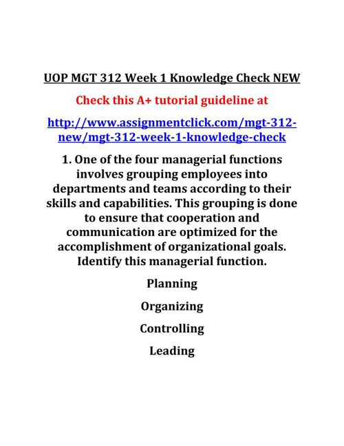 UOP MGT 312 Week 1 Knowledge Check NEW