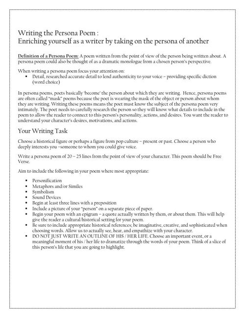 Microsoft Word - Writing the Persona Poem