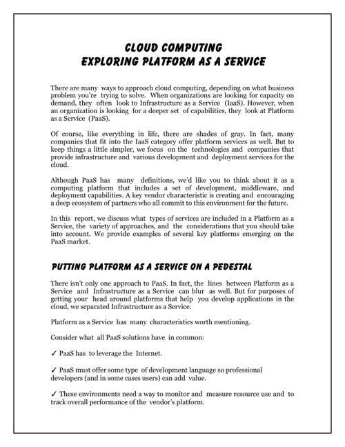 Exploring Platform As A Service