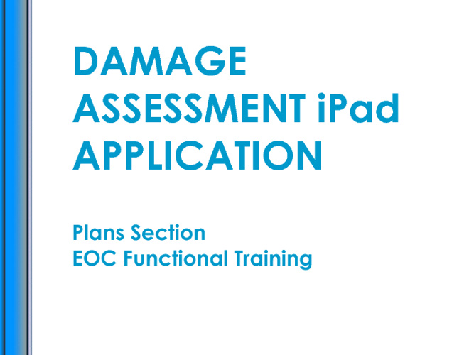 Damage Assessment iPad Application