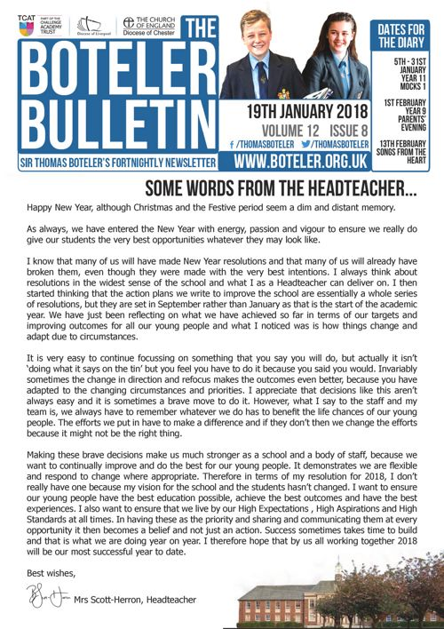 Boteler Bulletin 19th January 2018