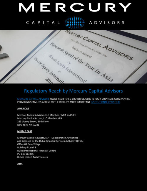 Regulatory Reach by Mercury Capital Advisors