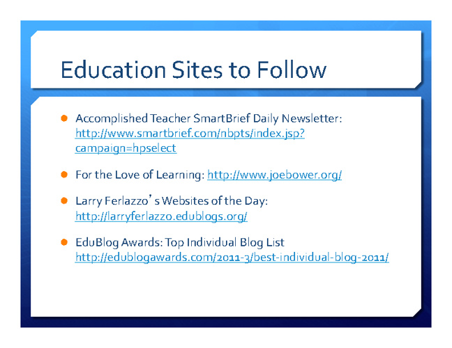 Educ Sites to Follow