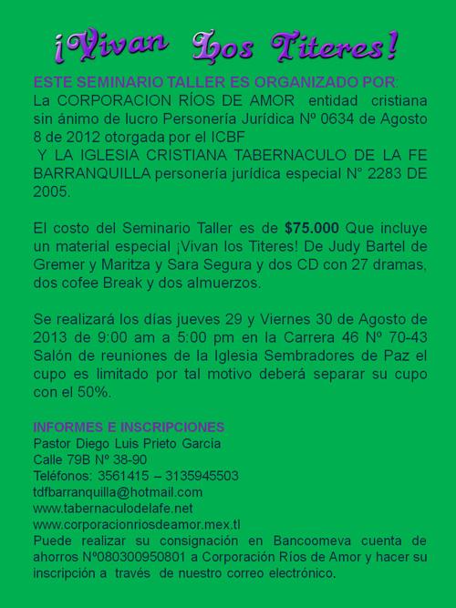 ¡VIVAN LOS TÍTERES! SEMINARIO TALLER EN BARRANQUILLA