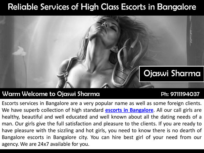 Reliable Services of High Class Escorts in Bangalore