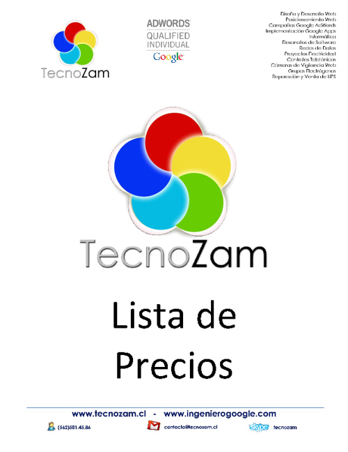 Lista de Precio Notebooks TecnoZam Diciembre 2012