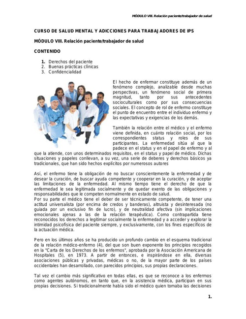 MODULO VIII. RELACION PCTE-TRABAJADOR DE SALUD