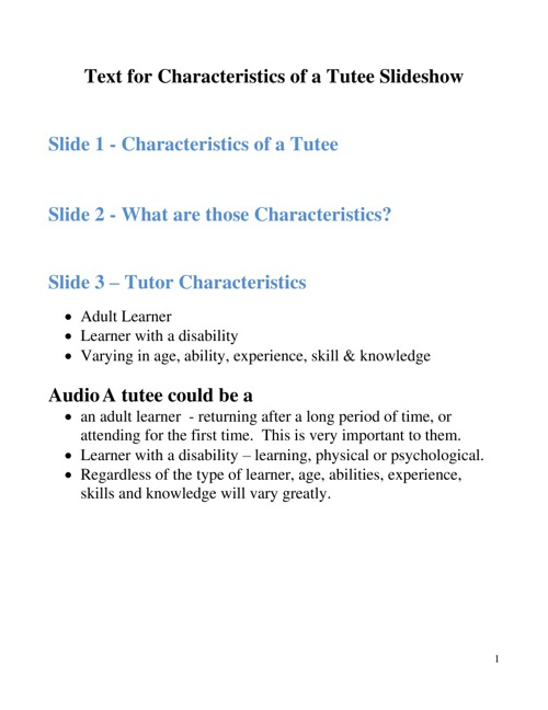 Text for Characteristics of a Tutee Slideshow