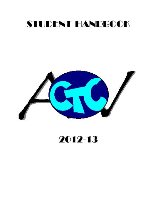 AV  CTC Student Handbook 2012-2013