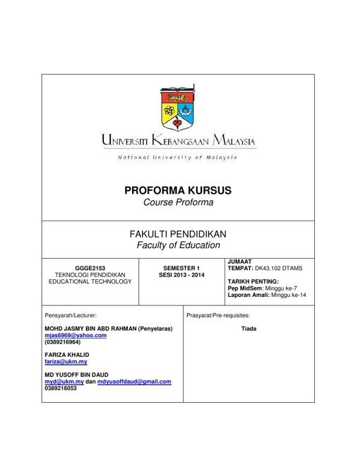 Proforma Kursus Teknologi Pendidikan GE2153