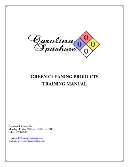 Carolina Spitshine Green Cleaning Products Training Manual