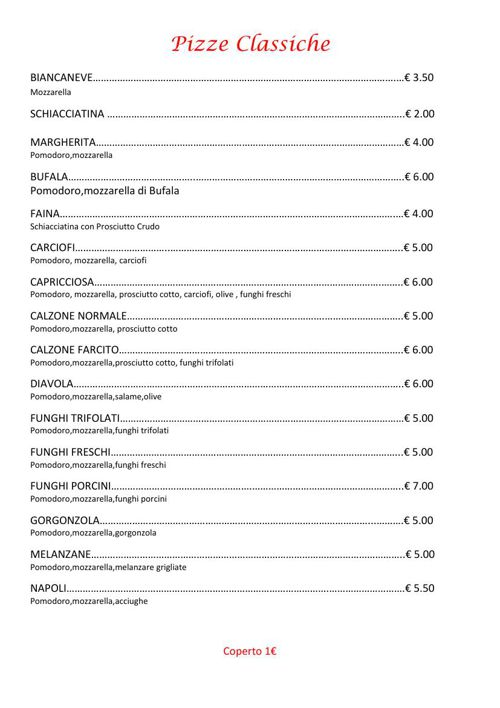 menu pizzeria carletto