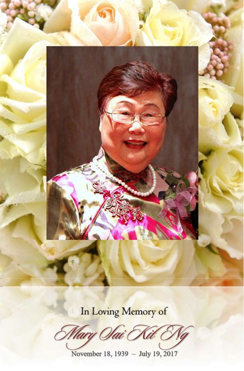 Funeral Service Program for Ms. Mary Sai Kit Ng