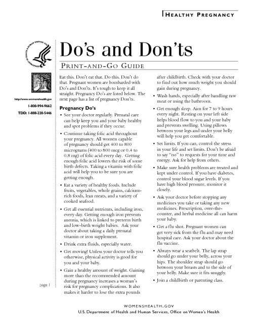 Pregnancy Do's and Don'ts