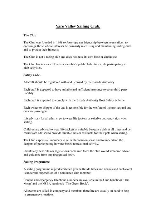 2013 YVSC Safety Document